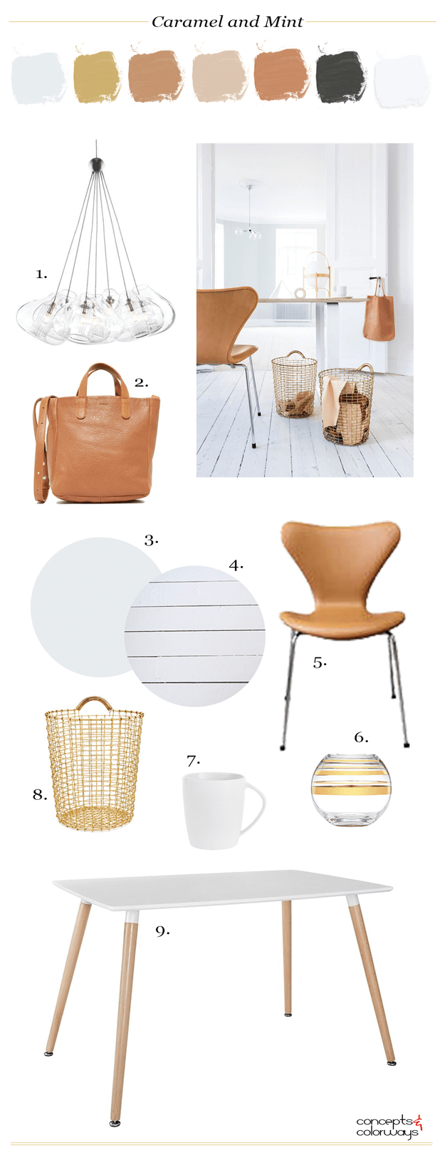caramel and mint interior design mood board