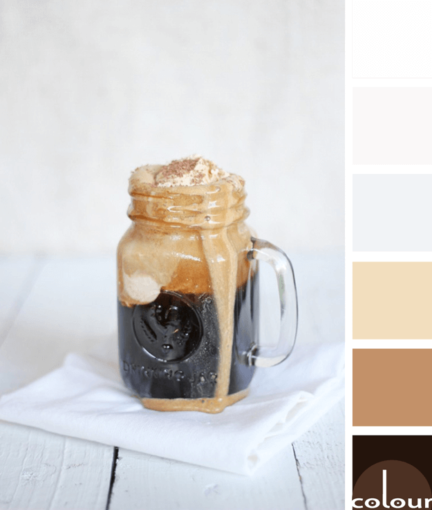 root beer float on white background paint palette