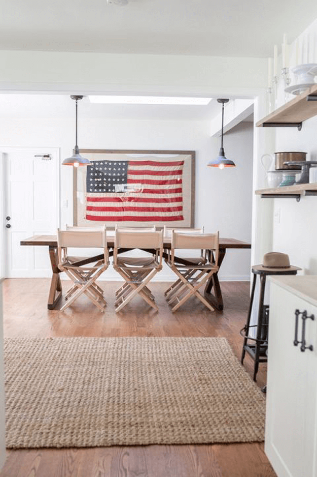 dining room with american flag wall hanging