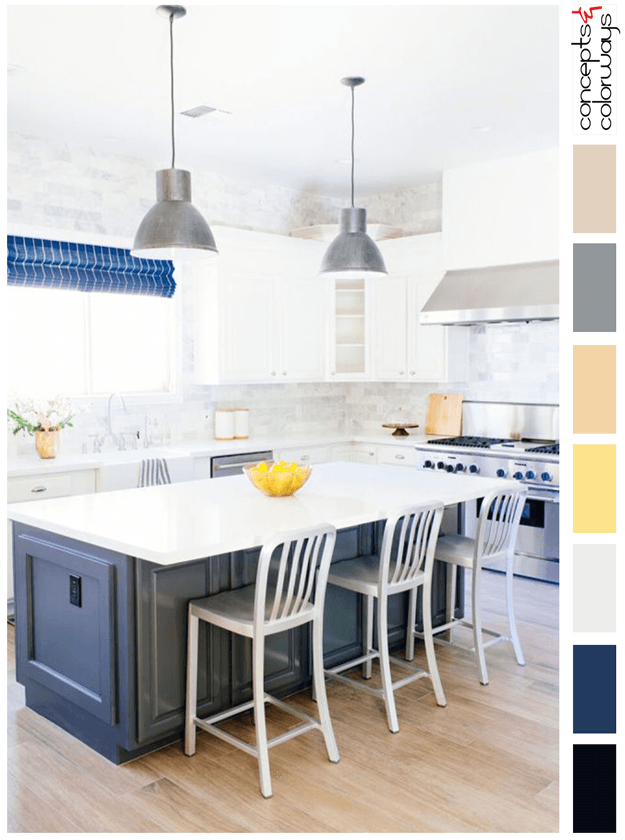 white kitchen with navy blue accents