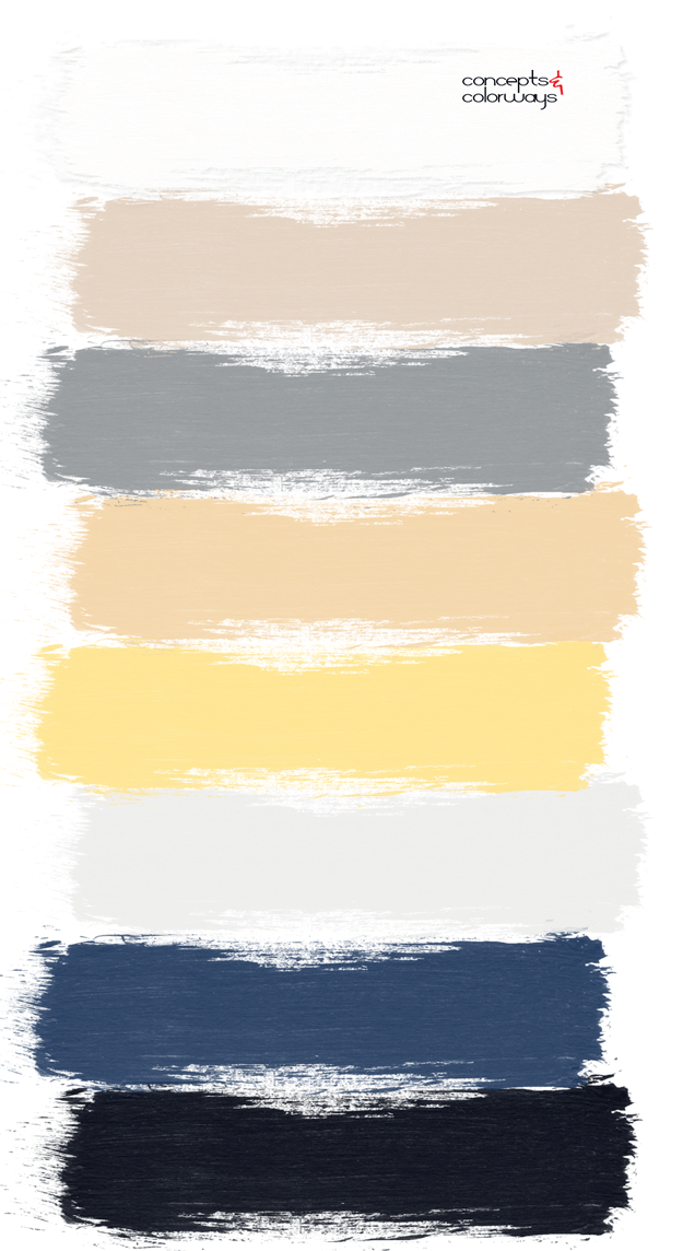 metals and blues interior design paint palette