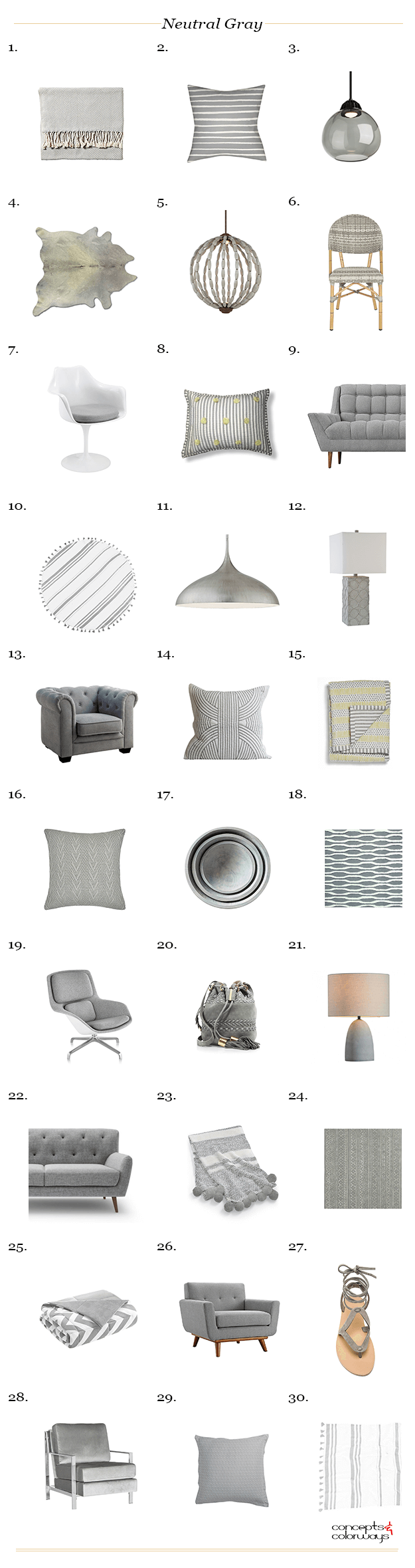 Pantone Neutral Gray interior design product roundup