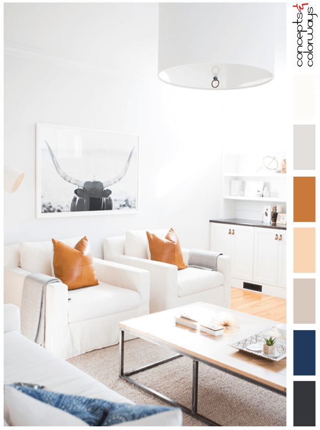 white living room with burnt orange and indigo accents