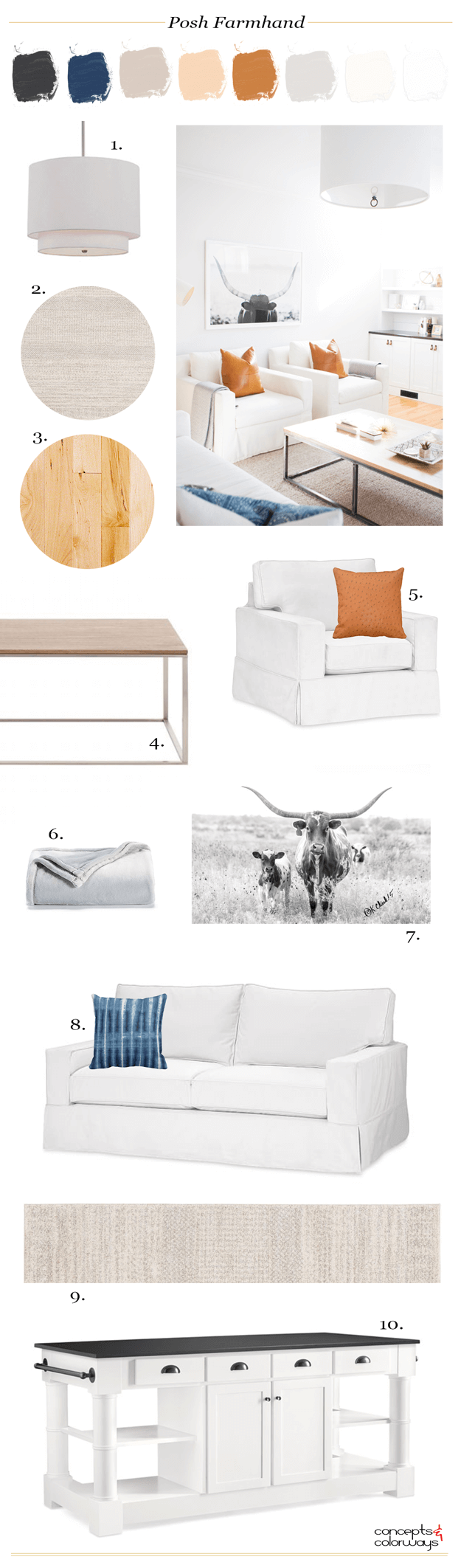 posh farmhand interior design mood board