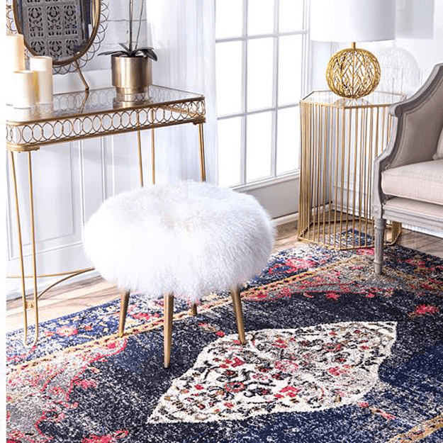 red and navy blue medallion rug