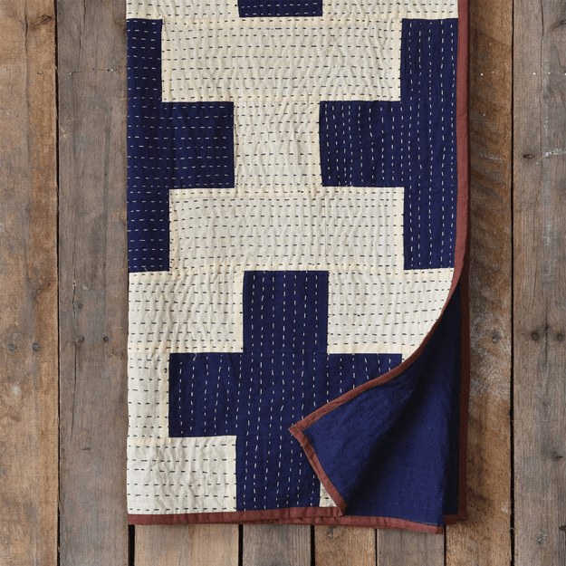 heritage kantha stitched throw