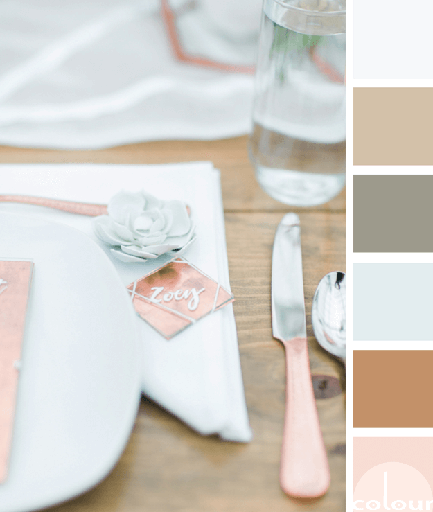 mint green and copper table setting color palette