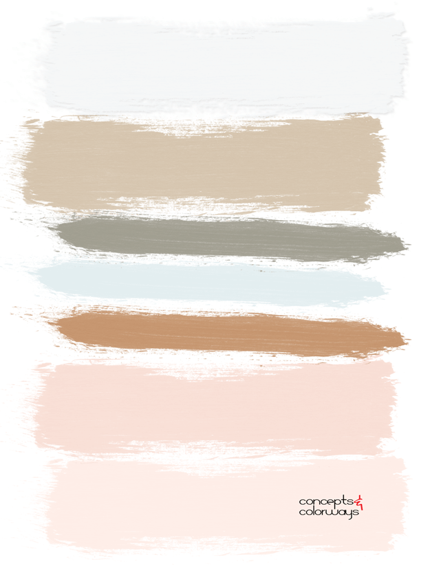 copper and mint paint palette