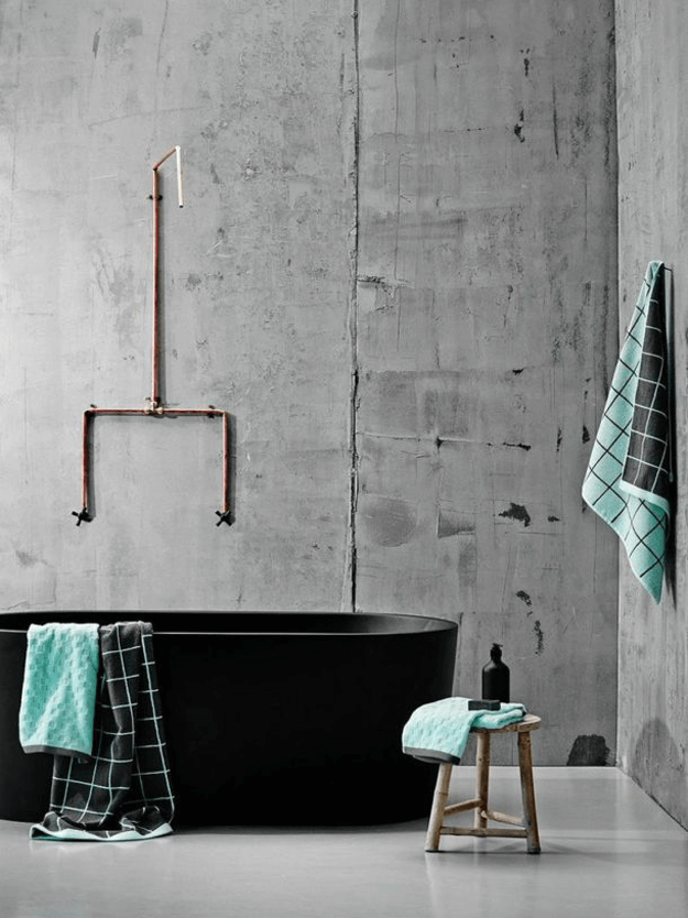 grey concrete industrial style bathroom