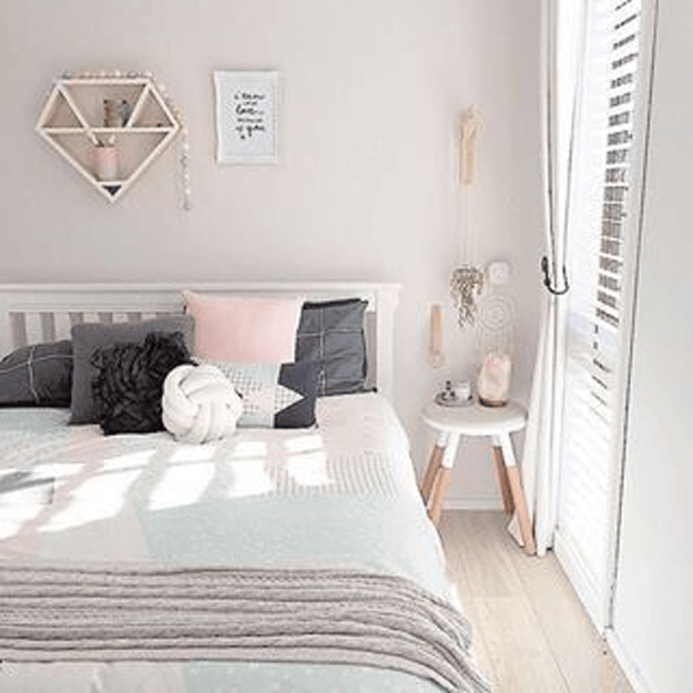 blush pink and gray bedroom