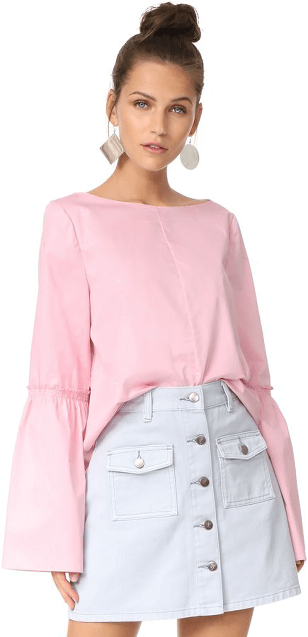blush pink long sleeved top