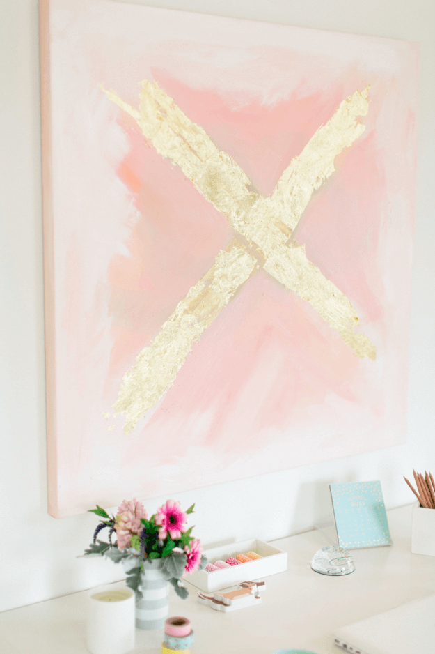 blush pink wall art with gold x