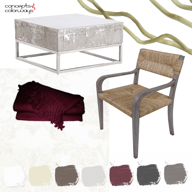 burgundy and gray interior design mood board