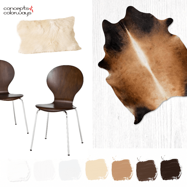 white interior with chocolate, caramel and cream accents mood board