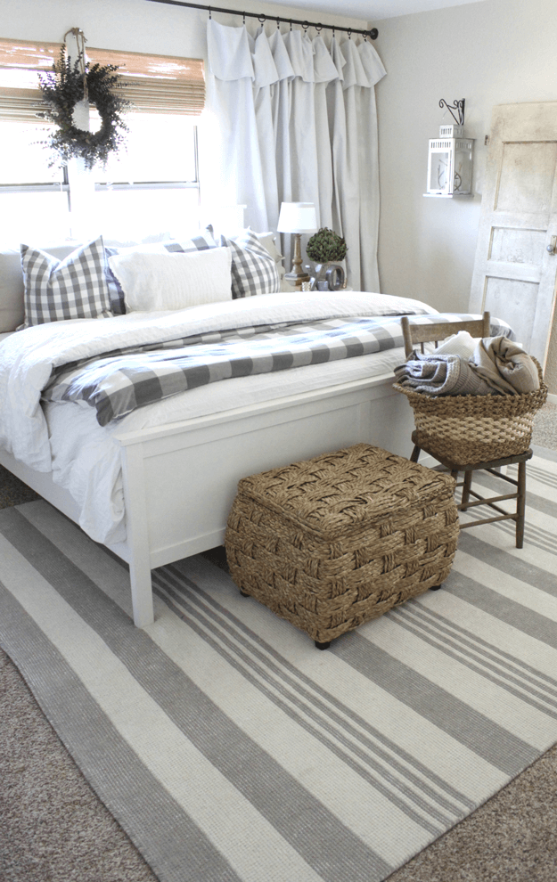 gray and white country style bedroom