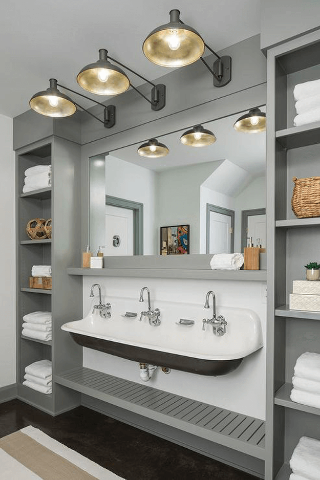 vintage style warm gray and white bathroom