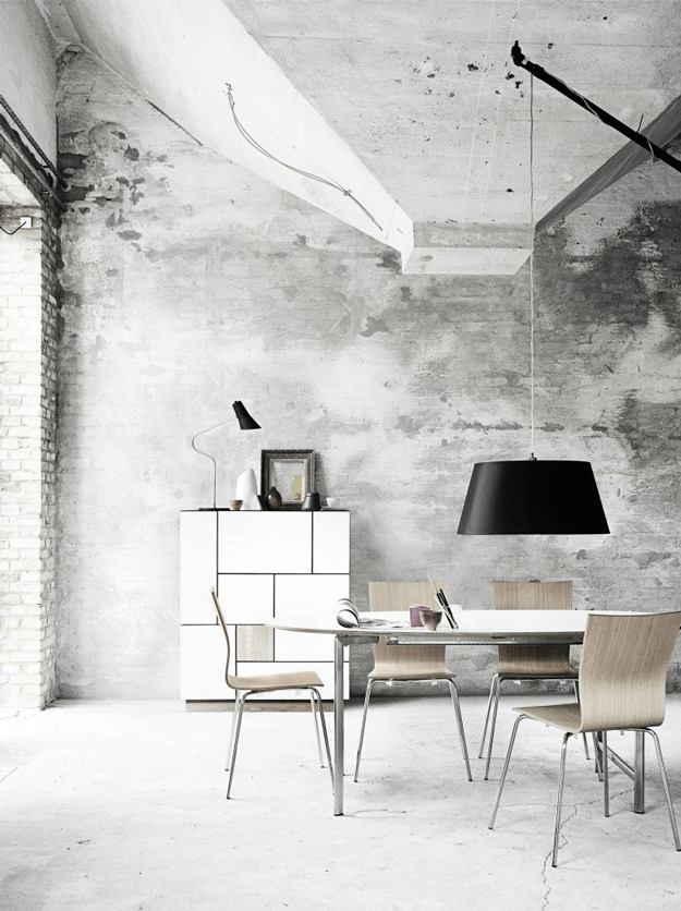 industrial style grey concrete dining room