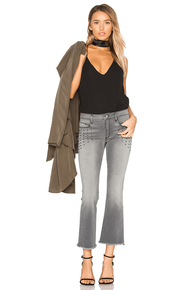 faded gray crop pants with black tank