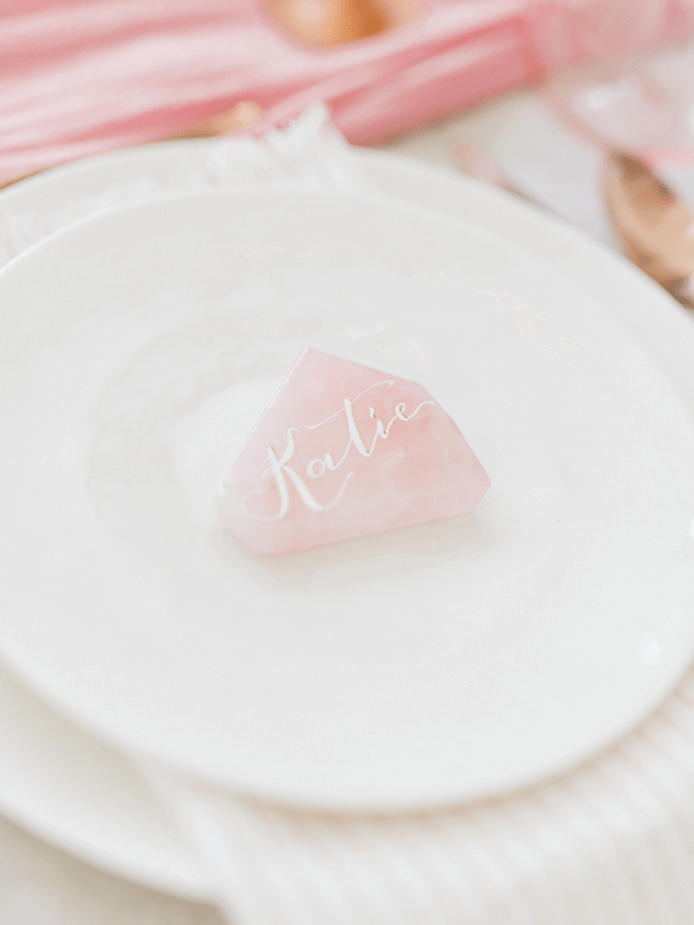rose quartz on white plate