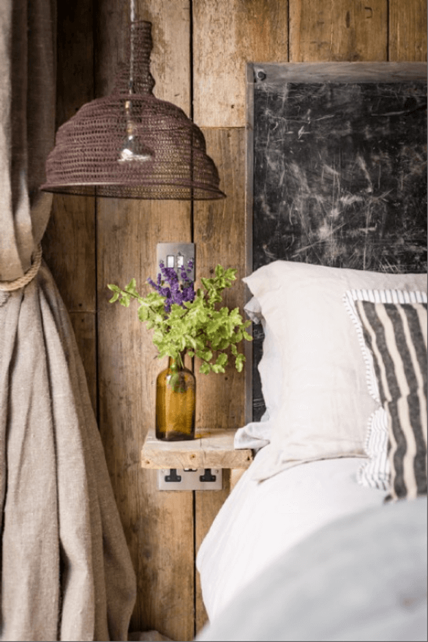rustic style bedroom with metal accents
