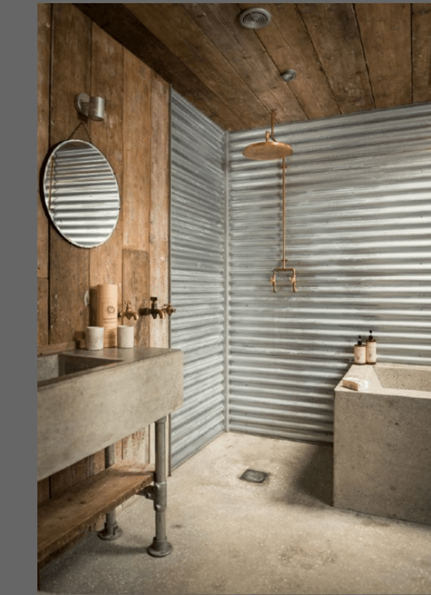 corrugated metal shower with reclaimed wood