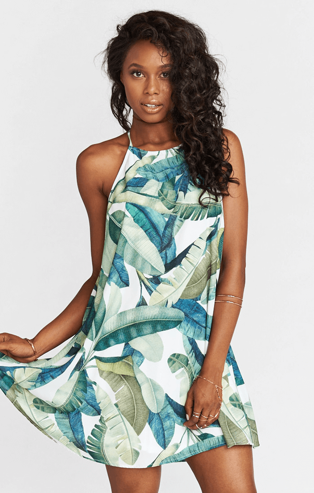 banana leaf halter dress