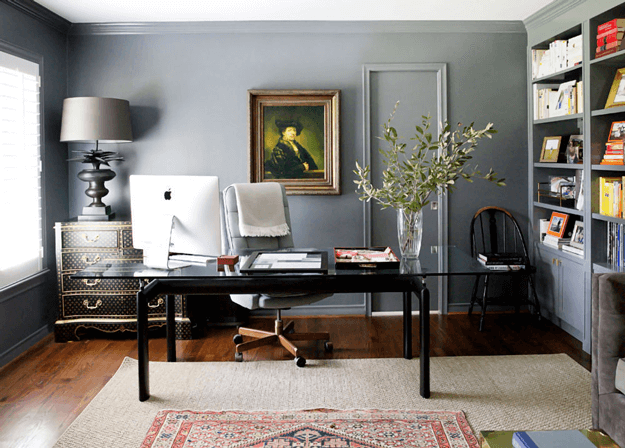 warm gray home office