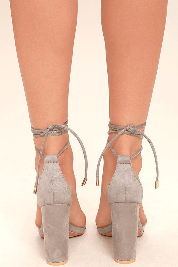 warm grey lace-up suede heels