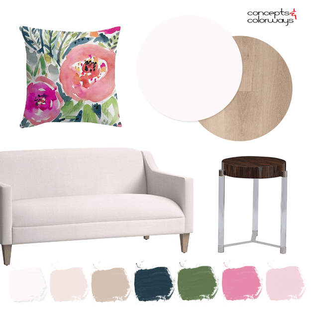 blush pink interior with colorful floral pillow