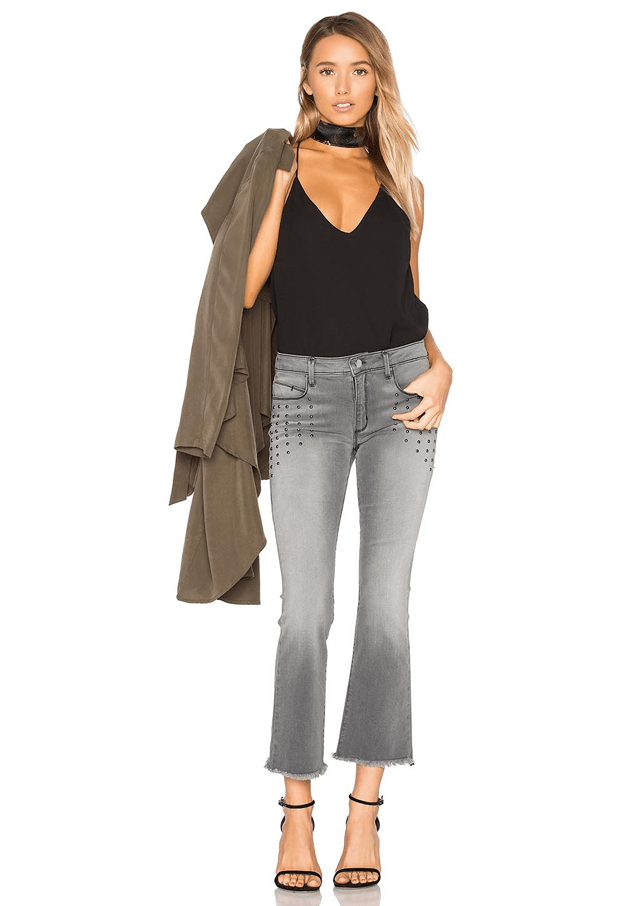 faded gray denim crop pants with black tank top