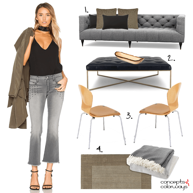A GRAY AND BLACK LIVING ROOM WITH MAPLE AND KHAKI BROWN ACCENTS