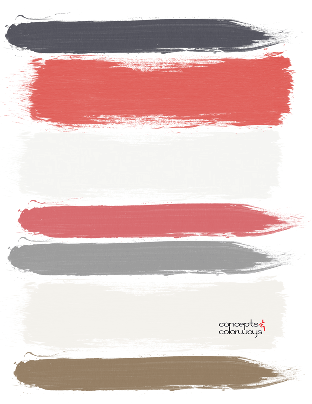 red gray and white paint palette