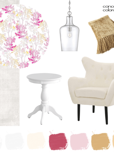 A PALE GRAY INTERIOR WITH GOLD AND PINK ACCENTS