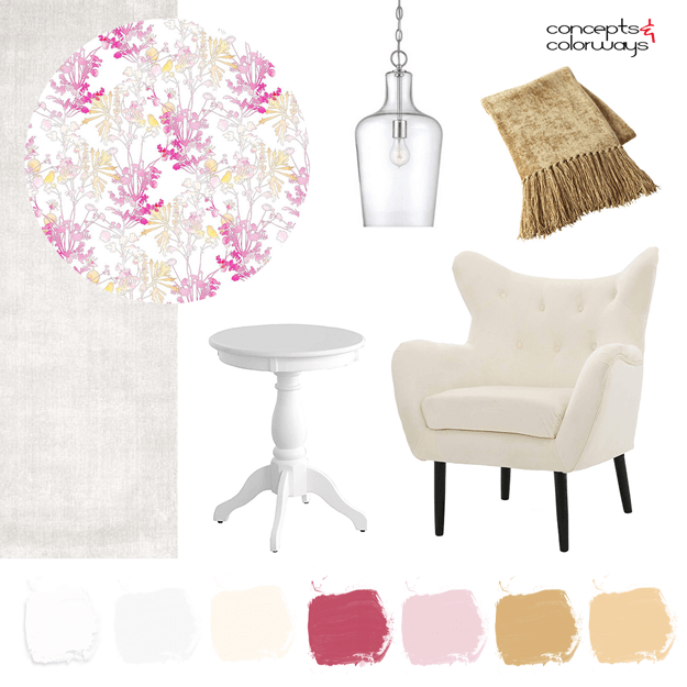 interior mood board with pink and gold accents