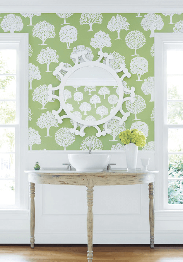 apple green and white tree print wallpaper