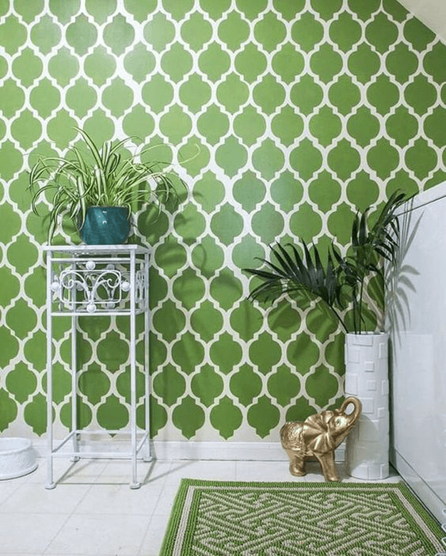 apple green patterned wallpaper with white floor