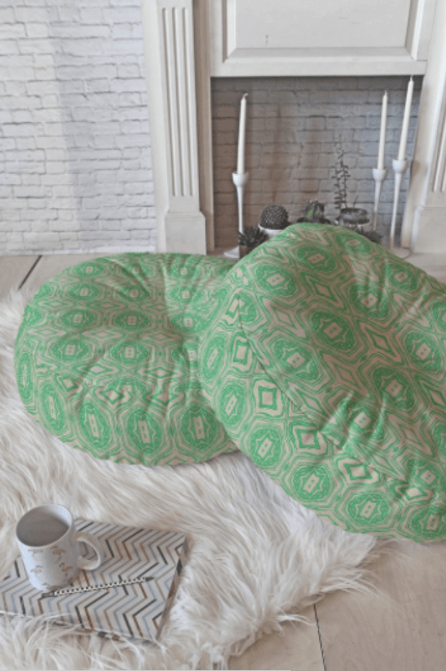 spring green floor pillows