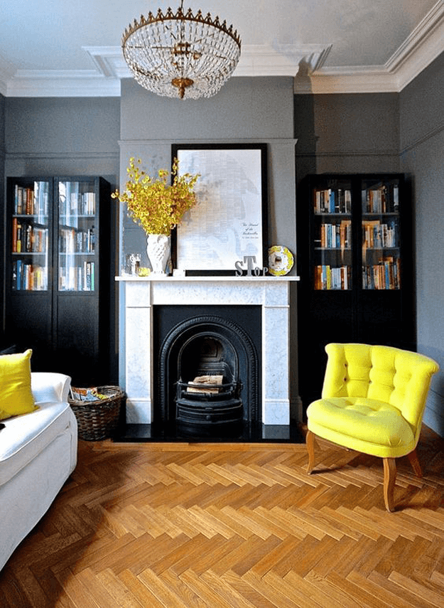 dark gray living room with bright yellow accents