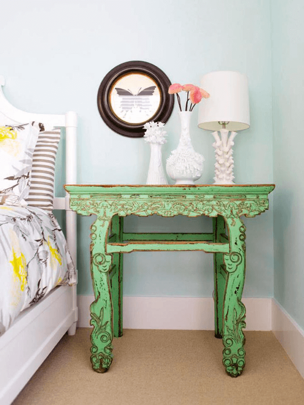 spring green vintage style nightstand