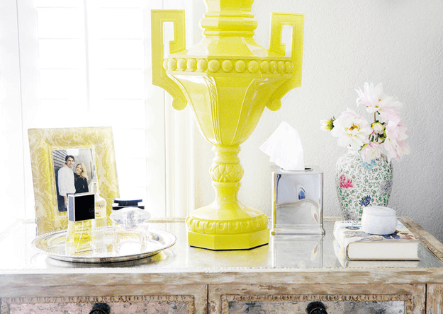 bright yellow urn