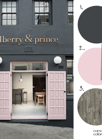 AN INDUSTRIAL STYLE RESTAURANT WITH BLUSH PINK DOORS