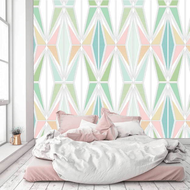 spring green and blush pink wallpaper