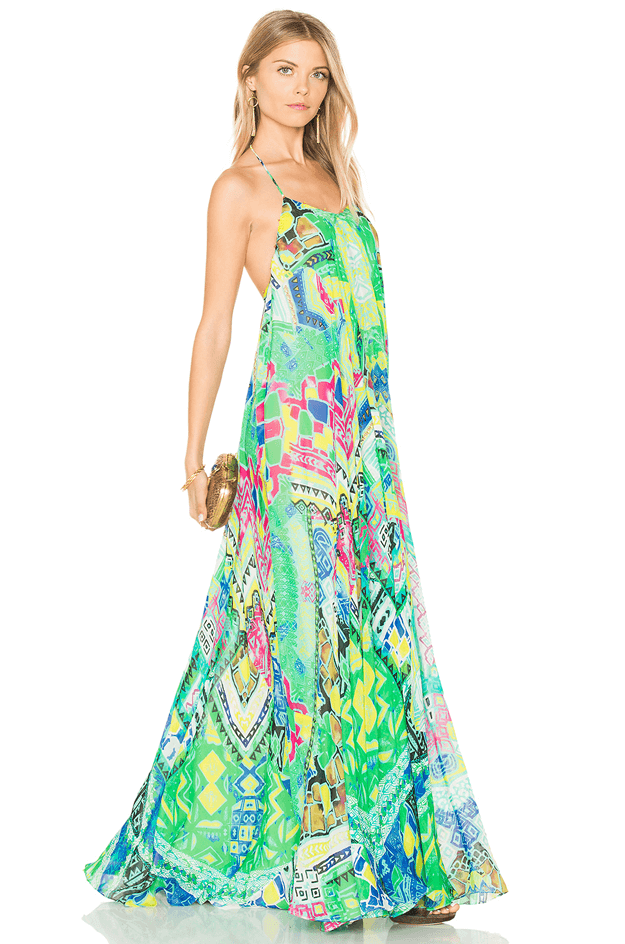bright green watercolor dress