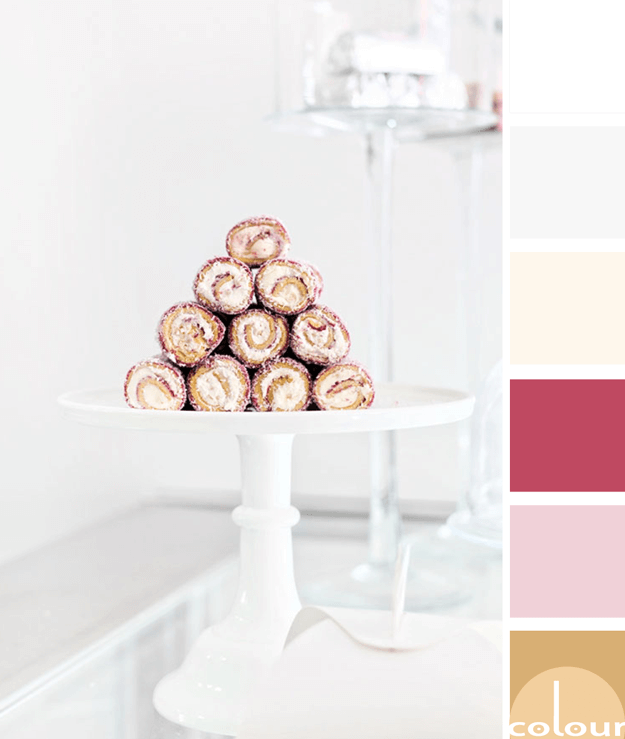 white cream pink and gold color palette