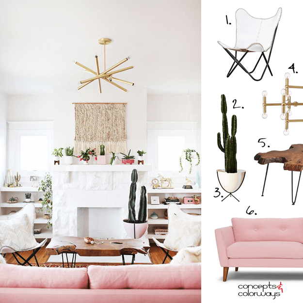 A WHITE LIVING ROOM WITH BLUSH PINK AND BRASS ACCENTS