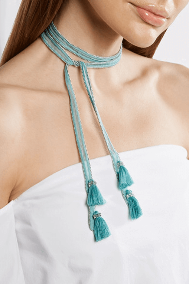 light turquoise tassel necklace