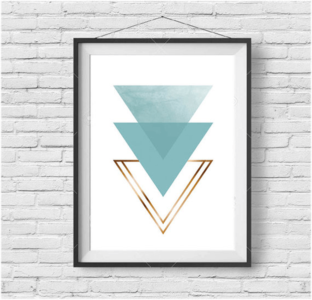 turquoise triangle print wall art