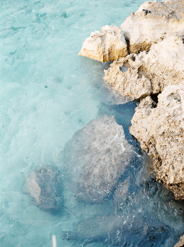 turquoise water closeup with rocks
