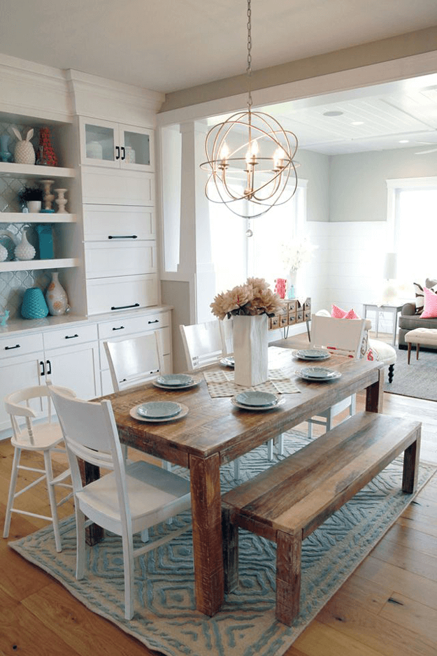 farm style dining room with turquoise acents