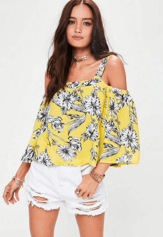 yellow floral off the shoulder blouse